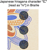 "Japanese hiragana character ""に"" [read as ""ni""] in Braille(Series-D 2,000 yen note)"